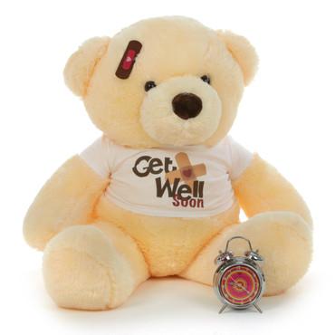 38in Get Well Soon Mocha teddy bear Buttercup, is just the prescription needed!