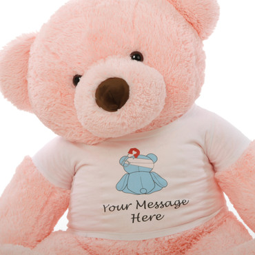 4 ft. Giant PinkTeddy bear (Close Up)