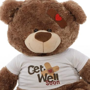 "37"" Get Well Soon Teddy Bear, Mocha Brown (Close Up)"