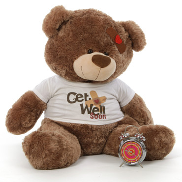 "35"" Get Well Soon Mocha Teddy Bear"