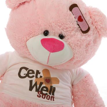 "35"" Get Well Soon Teddy Bear, Pink (Close Up)"