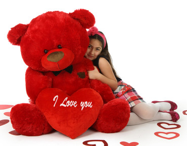 Giant Red Teddy Bear, Randy Shags 4 Foot