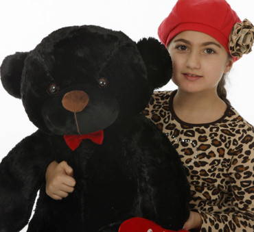 30in Juju Cuddles is a soft cutie with black fur and a plush red I Love You heart (up close and personal)