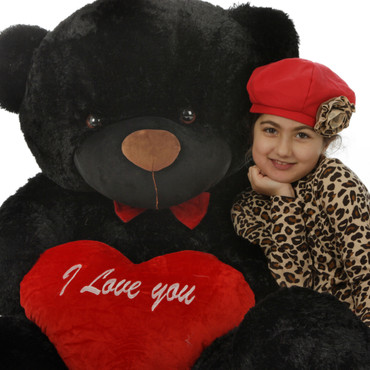5ft Black Teddy Bear Juju Cuddles with Red I Love You Heart