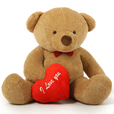 "Romantic and Sweet! 60in Cutie Chubs Teddy Bear for Valentine's Day with big ""I Love You"" hearts"