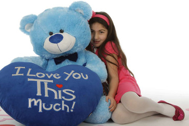 """Marty Shags with a huge """"I Love You This Much!"""" royal blue plush heart – 48in (She Love Me)"""