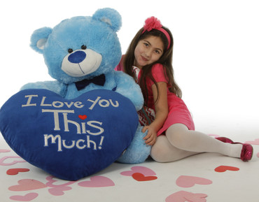 "Marty Shags with a huge ""I Love You This Much!"" royal blue plush heart – 48in (She Loves Me!)"