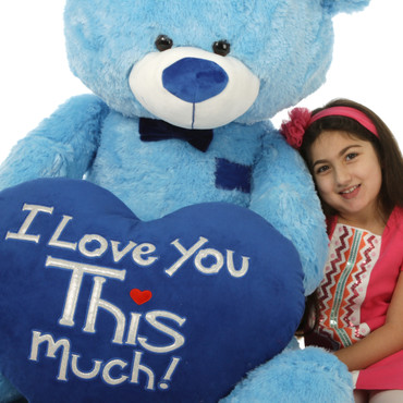 "Marty Shags is with a huge ""I Love You This Much!"" royal blue plush heart – 52in (Up close & personal)"