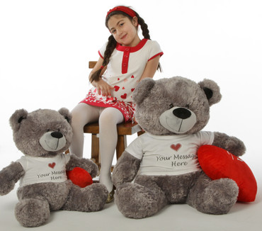 Diamond Shags Personalized Valentine's Day Teddy Bear with 'I Love You' Heart Pillow - 35in