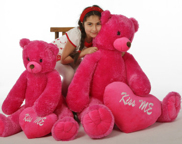 "Cherry Tubs is a hot pink sweetheart, 42in and 2 styles of heart pillows - ""Kiss Me"""