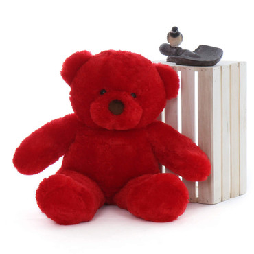 Riley Chubs is a plush red plush teddy bear that measures 30