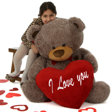 """45in Mocha Teddy Bear Smooches Fluffy Shags with red """"I Love you"""" heart and red bowtie"""