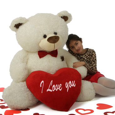 """52in White Teddy Bear Fluffy Shags with red """"I Love you"""" heart and red bowtie"""