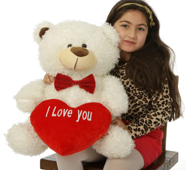 """25in White Teddy Bear Fluffy Shags with red """"I Love you"""" heart and red bowtie"""
