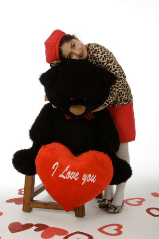 """35in Black Teddy Bear Ricardo Fluffy Shags with red """"I Love you"""" heart and red bowtie"""