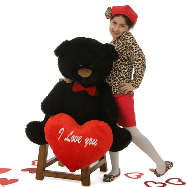 "35in Life Size Black Teddy Bear Ricardo Fluffy Shags with red ""I Love you"" heart and red bowtie"