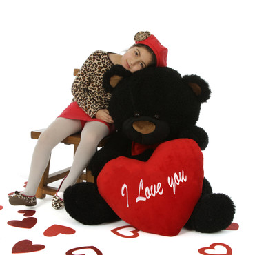 """55in Life Size Black Teddy Bear Ricardo Fluffy Shags with red """"I Love you"""" heart and red bowtie"""
