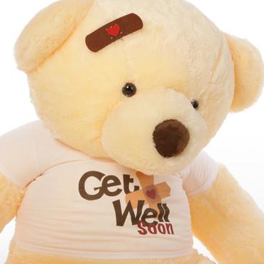5ft Get Well Soon Vanilla teddy bear , Smiley Chubs (Close Up)