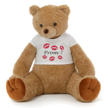 Big 2½ ft Personalized 'Red Kisses & Prom?' Teddy Bear Amber Brown Honey Tubs