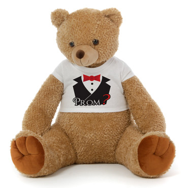Big 2½ ft Personalized 'Tuxedo & Prom?' Teddy Bear Amber Brown Honey Tubs