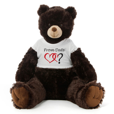 3½ ft Baby Tubs Cuddly Dark Brown Prom Teddy Bear (Prom Date? - Double Hearts)