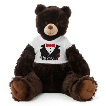 3½ ft Baby Tubs Cuddly Dark Brown Prom Teddy Bear (Prom? - Tuxedo)