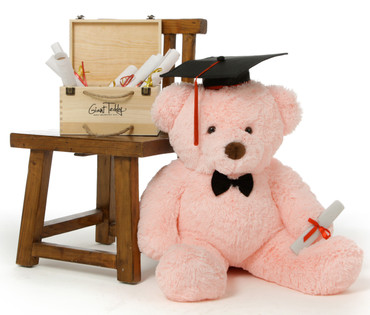 30in Huge Pink Gigi Chubs Teddy Bear with Graduation Cap & Diploma