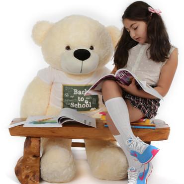 4 ft Cozy Cream Teddy Bear Sunny Cuddles Back to School