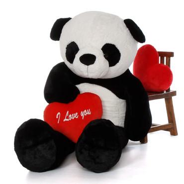 "6ft Life Size Panda Bear Rocky Xiong wred ""I Love You"" heart"