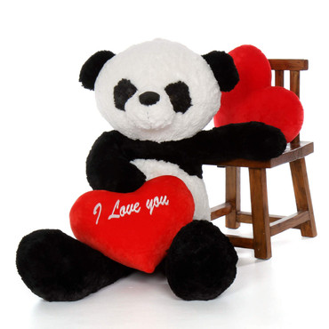 """4ft Valentine's Day Big Panda Bear Ricky Xiong with red """"I Love You"""" heart"""