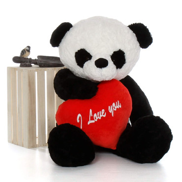 """Valentine's Day gift cute Panda Bear Ricky Xiong 4ft with red """"I Love You"""" heart"""