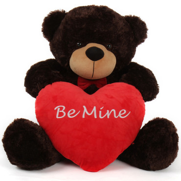 """38in Brownie Cuddles w/red bow tie & red """"Be Mine"""" heart"""