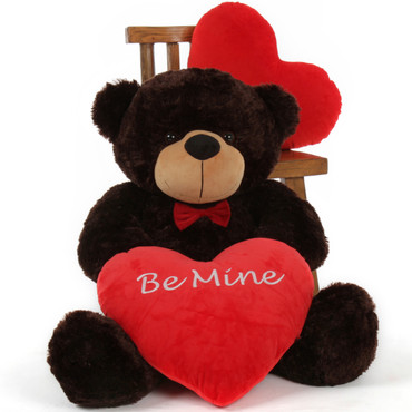 Chocolate Brown Valentine's Day 3 ft Cuddles Teddy Bear w/red bow tie & red heart pillow