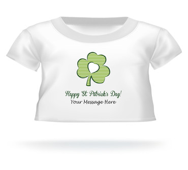 """Happy St. Patrick's Day"" Clover Giant Teddy Bear Personalized Shirt"