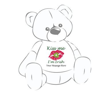Personalized St. Patrick's Day Kiss Me I'm Irish lips sealed w/clover Giant Teddy Bear Shirt