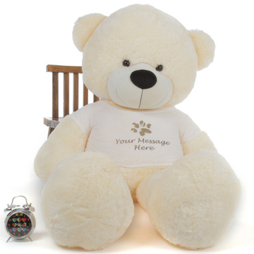 72in Huge Cream Giant Teddy Bear Cozy Cuddles with Personalized T-Shirt