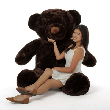 Tall, dark, handsome and cuddly 72in huge teddy bear dk brown fur so soft by Giant Teddy
