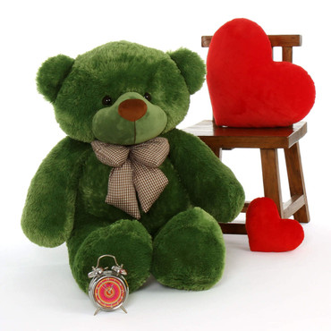 4ft (48in) green teddy bear soft and cuddly extra huggable