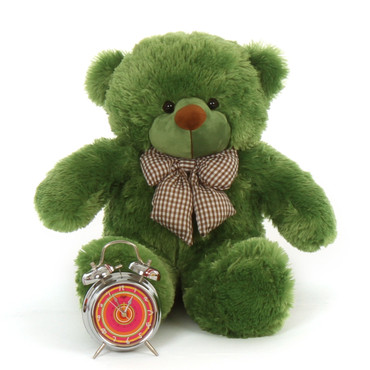 24in big adorable vibrant green lucky cuddles teddy bear brown eyes velvety soft brown nose