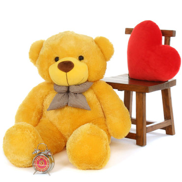 4 ft Life Size Happy smiling Yellow Teddy Bear snuggly  Daisy Cuddles family Giant Teddy