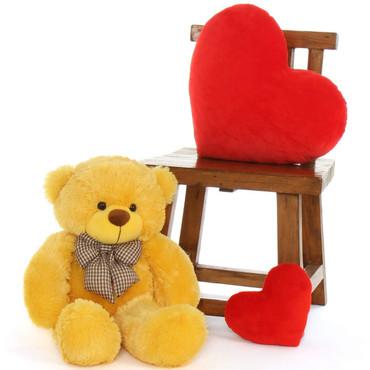 2ft Big cutest Huggable Yellow Teddy Bear Daisy Cuddles extra soft