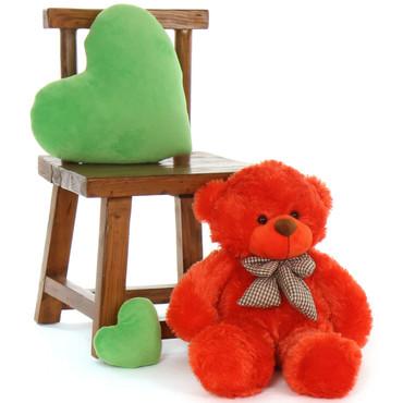 24in snuggly Teddy Bear Huggable Lovey Cuddles bright Orange Red Fur