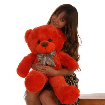 Oversized Teddy Bear 30in Lovey Cuddles Beautiful Orange Red Fur