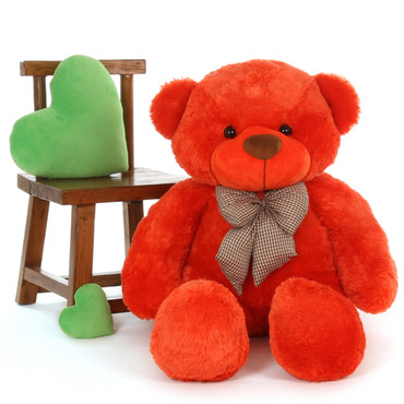 unbelievably soft Life Size Teddy Bear Beautiful Orange Red Unique Lovey Cuddles 4ft