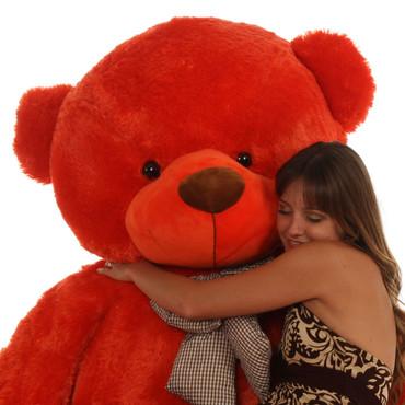6 foot Huge Life Size beautiful orange red fur Teddy Bear Lovey Cuddles heavenly beautiful