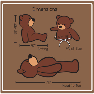 6 Foot Teddy Bear Dimensions