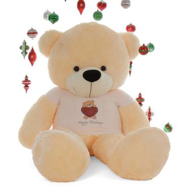 6ft Personalized Happy Holidays  Life Size Vanilla Cream Teddy Bear Cozy Cuddles