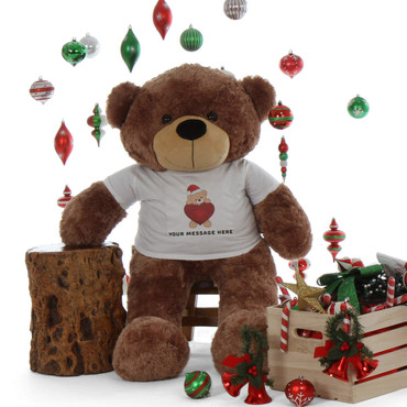 48in life size Personalized shirt cute Christmas Teddy Bear Mocha Sunny Cuddles