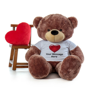 60in life size Personalized gift Softest Mocha Teddy Bear Sunny Cuddles in Red Heart Shirt