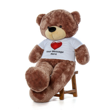 60in huggable life size Personalized gift Softest Mocha Teddy Bear Sunny Cuddles in Red Heart Tshirt